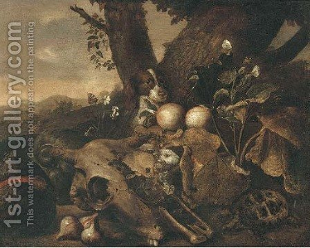 A wooded landscape with a dog, a tortoise, a skull, a rabbit, figs and other fruit in a clearing by (after) Jan Fyt - Reproduction Oil Painting