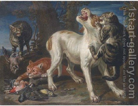 Cats attacking a dog in a landscape by (after) Jan Fyt - Reproduction Oil Painting