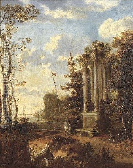 A wooded coastal landscape with travellers by a classical fountain by (after) Jan Gabrielsz. Sonje - Reproduction Oil Painting