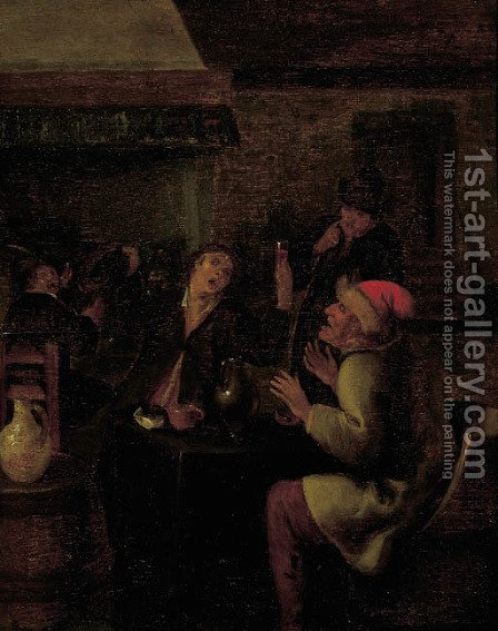 Boors drinking in a tavern by (after) Jan Steen - Reproduction Oil Painting