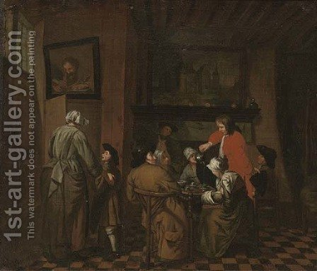 An interior with men and women drinking tea by (after) Jan Josef, The Elder Horemans - Reproduction Oil Painting