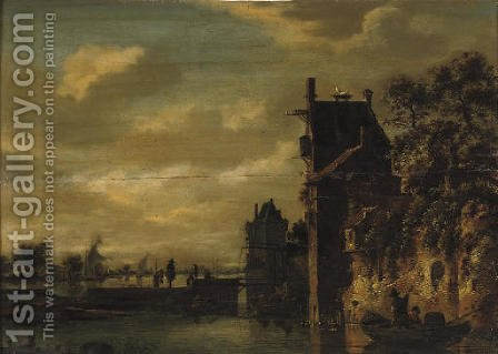 A river landscape with figures in rowing boats outside the walls of a town, sailing boats beyond by (after) Jan Van Goyen - Reproduction Oil Painting