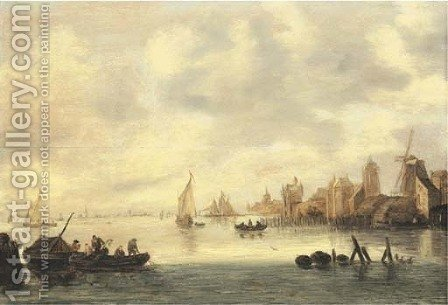 A river landscape with fishermen casting nets, a windmill, churches and other buildings on the shore with shipping beyond by (after) Jan Van Goyen - Reproduction Oil Painting