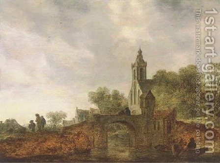 A river landscape with travellers near a bridge, a church and a village beyond by (after) Jan Van Goyen - Reproduction Oil Painting