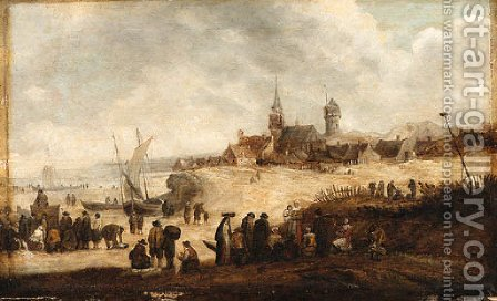 Fisherfolk and Townsfolk on the Beach at Scheveningen by (after) Jan Van Goyen - Reproduction Oil Painting