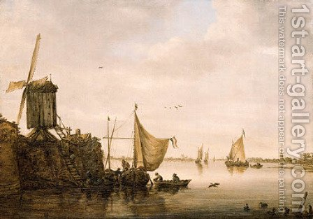 A river Landscape with Men unloading a Waterschip by (after) Jan Van Goyen - Reproduction Oil Painting