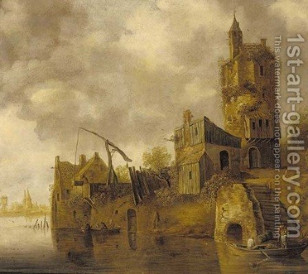 A river landscape with figures unloading a boat before a tower by (after) Jan Van Goyen - Reproduction Oil Painting