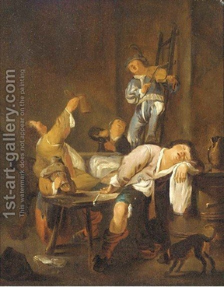 Peasants making merry in an inn by (after) Jan Miense Molenaer - Reproduction Oil Painting