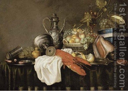 A lobster on a white cloth by (after) Jan Pauwel The Elder Gillemans - Reproduction Oil Painting