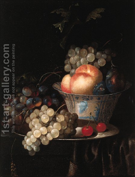 Peaches, plums and grapes in a Wan Li kraak porselein bowl by (after) Jan Pauwel The Elder Gillemans - Reproduction Oil Painting