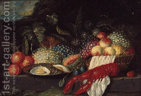 A lobster, a plate of oysters and fruit on a stone ledge in a landscape by (after) Jan Pauwel II The Younger Gillemans - Reproduction Oil Painting