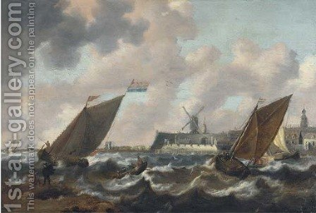 Shipping in choppy seas, a town beyond by (after) Jan Peeters - Reproduction Oil Painting
