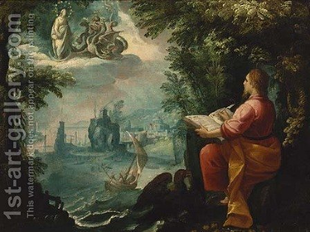 Saint John the Evangelist on the island of Patmos writing the book of Revelation by (after) Jan Soens - Reproduction Oil Painting
