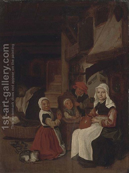 A peasant family in an interior by (after) Jan Steen - Reproduction Oil Painting