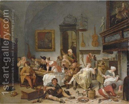 A tavern interior with people drinking and music-making by (after) Jan Steen - Reproduction Oil Painting