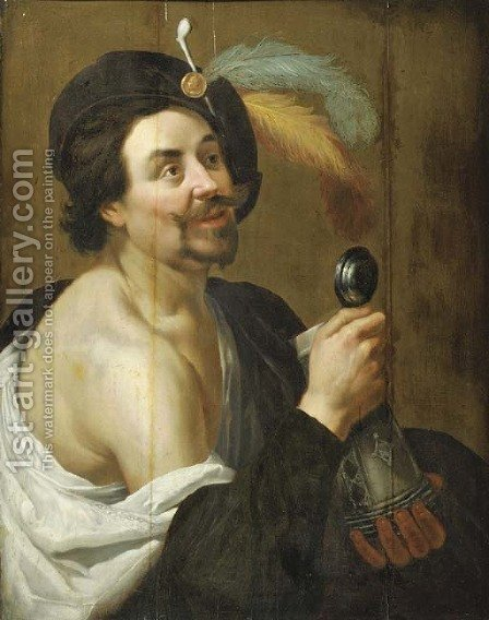 A man with a tankard by (after) Jan Van Bijlert - Reproduction Oil Painting