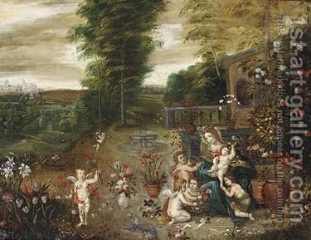 The Madonna and Child seated in a garden with the Infant Saint John the Baptist and putti by (after) Jan, The Younger Brueghel - Reproduction Oil Painting