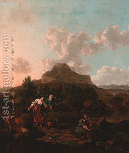 A rocky Italianate landscape with harvesters, cattle, and a dog by a stream by (after) Jan Van Der Bent - Reproduction Oil Painting
