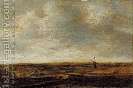 An extensive landscape with a windmill by (after) Jan The Elder Vermeer Van Haarlem - Reproduction Oil Painting