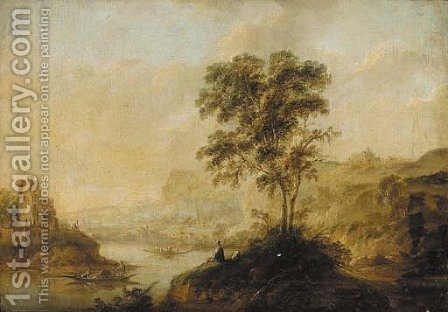 Figures at a river in an Italianate landscape by (after) Huysum, Jan van - Reproduction Oil Painting