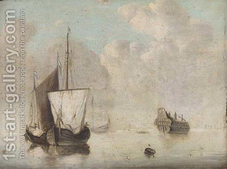 Shipping in a calm with an old hulk nearby by (after) Jan Van Os - Reproduction Oil Painting