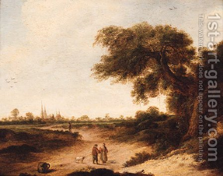 A landscape with a couple on a sandy track, a church beyond by (after) Jan Vermeer Of Haarlem - Reproduction Oil Painting