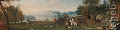 A Stag Hunt in a coastal Landscape by (after) Jan Wyck - Reproduction Oil Painting