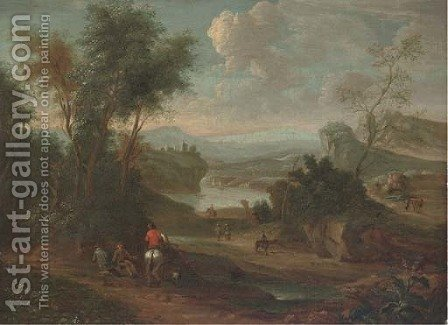 A wooded river landscape with a figure on horseback conversing with two travellers resting on a track by (after) Jan Wynants - Reproduction Oil Painting