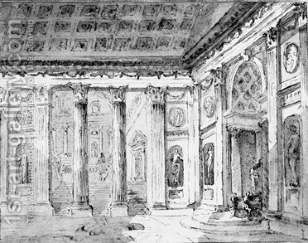 The Entrance Of An Antique Palace With Colonnades by (after) Jean Lemaire - Reproduction Oil Painting