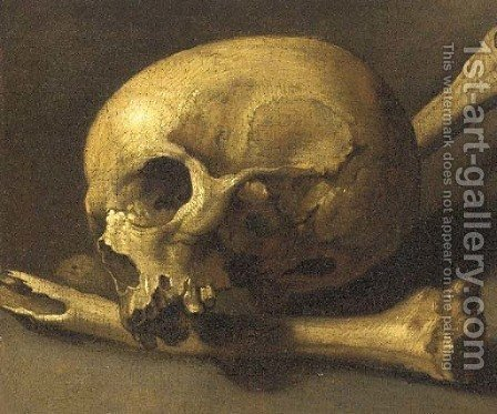 A momento mori of a skull and bones by (after) Theodore Gericault - Reproduction Oil Painting