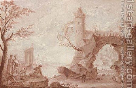 Anglers and fishermen by a weir, a natural arch and a tower beyond, en grisaille by (after) Jean-Baptiste Pillement - Reproduction Oil Painting