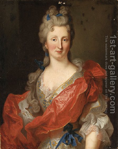 Portrait of a Lady, said to be Madame L.A. de Crozat, Marchale de Broglie by (after) Jean Ranc - Reproduction Oil Painting