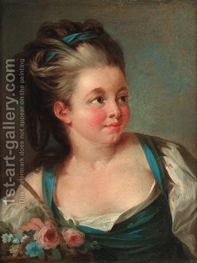 Portrait of a young girl by (after) Jean-Baptiste Leprince - Reproduction Oil Painting
