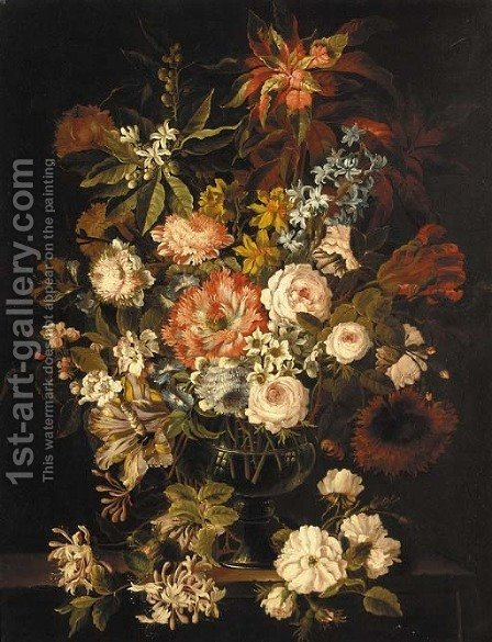 Hyacinth, roses, tulips, peonies, honeysuckle and other flowers in a glass vase on a stone ledge by (after) Jean-Baptiste Monnoyer - Reproduction Oil Painting