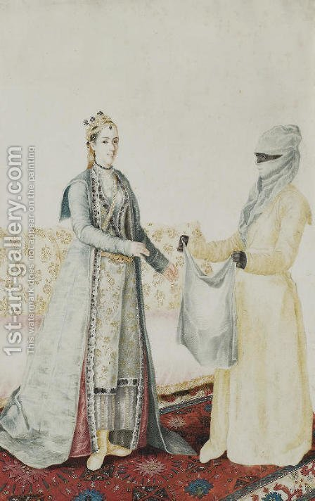 A Europen woman with her Turkish servant by (after) Etienne Liotard - Reproduction Oil Painting