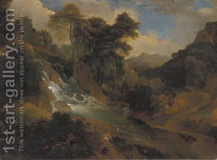 A wooded landscape with women by a waterfall by (after) Jean-Francois Millet - Reproduction Oil Painting