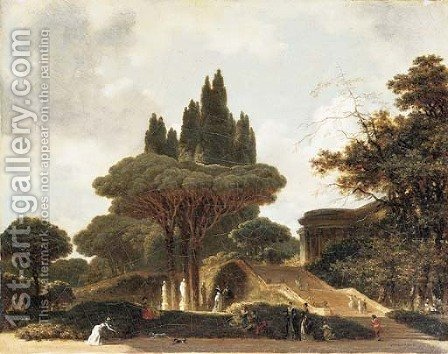 A park landscape with elegant figures promenading by (after) Fragonard, Jean-Honore - Reproduction Oil Painting
