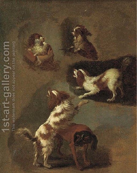 A study of spaniels by (after) Fragonard, Jean-Honore - Reproduction Oil Painting
