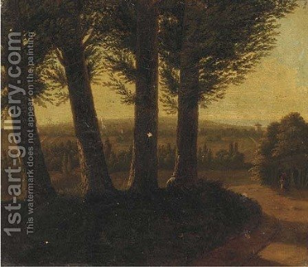A wooded landscape at dusk with a figure smoking a pipe by (after) Jean-Victor Bertin - Reproduction Oil Painting