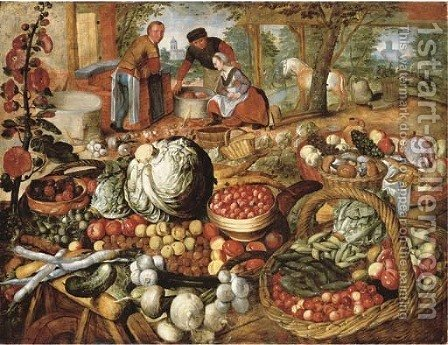 A greengrocer's stall with the Flight into Egypt beyond by (after) Joachim Beuckelaer - Reproduction Oil Painting