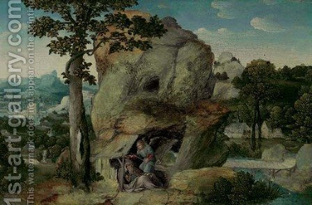 An extensive landscape with Elijah and the Angel by (after) Joachim Patenier (Patinir) - Reproduction Oil Painting