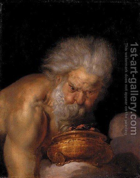 Boreas holding a brazier by (after) Joachim Von, I Sandrart - Reproduction Oil Painting