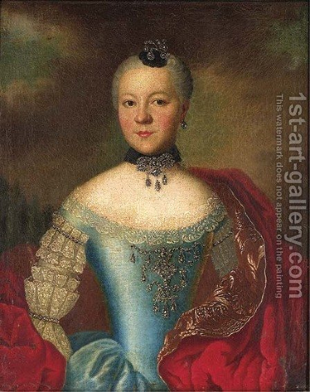 Portrait of a noblewoman by (after) Johann Georg Ziesenis - Reproduction Oil Painting