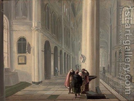 A gothic church interior with figures by an open tomb by (after) Johann Ludwig Ernst Morgenstern - Reproduction Oil Painting