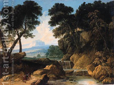 A traveller conversing with a gypsy woman on a road by a waterfall by (after) Johannes (Polidoro) Glauber - Reproduction Oil Painting