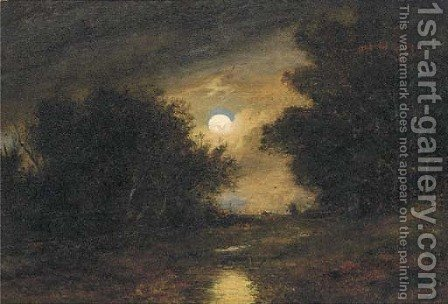 A moonlit wooded landscape by (after) John Burney Crome - Reproduction Oil Painting