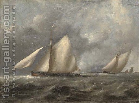 Royal Irish Yacht Club cutters at the turning mark by (after) John Christian Schetky - Reproduction Oil Painting