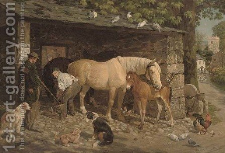 The village blacksmith by (after) John Frederick Snr Herring - Reproduction Oil Painting