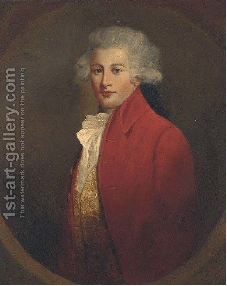 Portrait of a young gentleman, half-length, in a red jacket and white cravat by (after) Hoppner, John - Reproduction Oil Painting