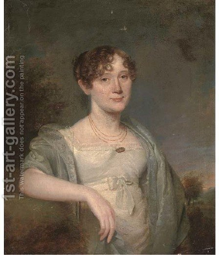 Portrait of a lady, half-length, in a white dress and grey shawl, with a landscape beyond by (after) Hoppner, John - Reproduction Oil Painting